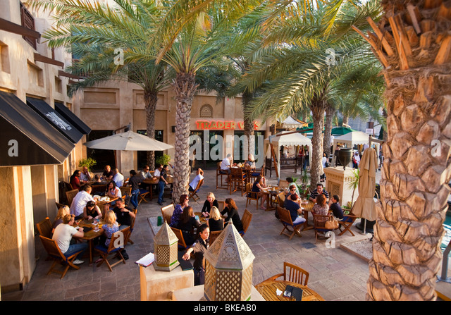 Medinat Jumeirah,Cafe, Dubai, United Arab Emirates - Stock Image