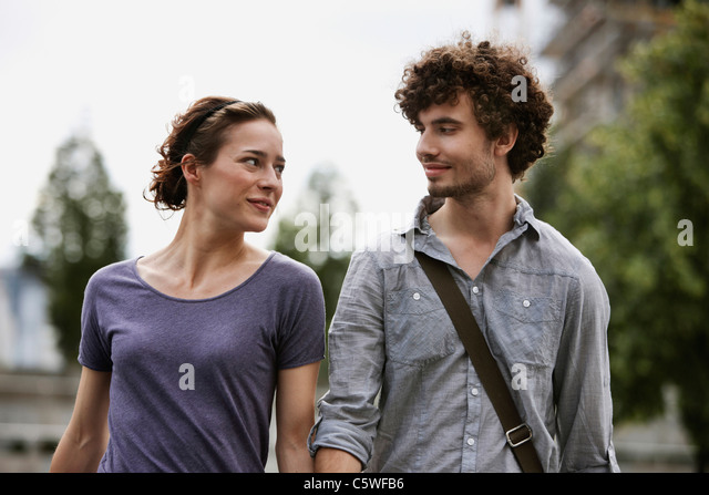 Germany, Berlin, Young couple, portrait - Stock Image
