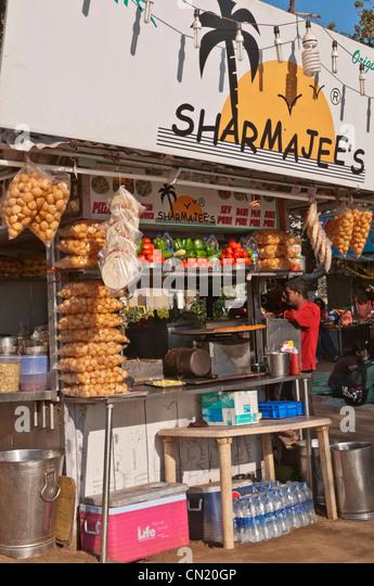 Snack stall Chowpatty Beach Mumbai Bombay India - Stock Image