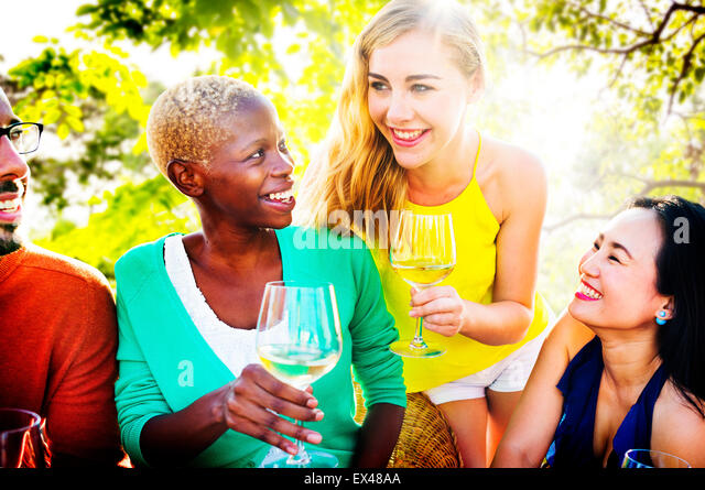 Girls Talking Chilling Friendship Leisure Friends Concept - Stock Image