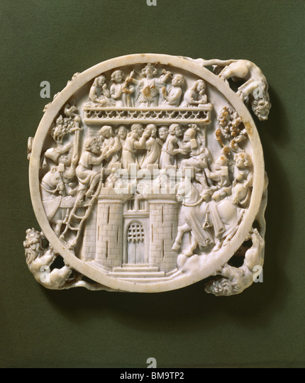 Mirror case. France, 14th century - Stock Image