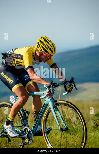 Koen Bouwman (Ned) Team LottoNL-Jumbo on the climb of Hartside on Stage 5 of the 2015 Tour of Britain - Stock Image