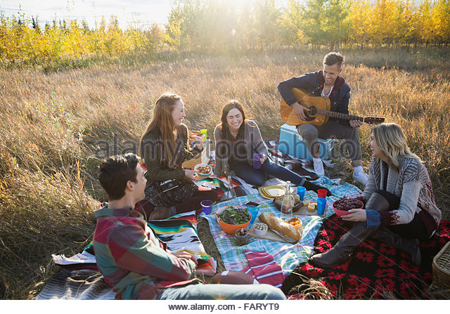 Friends hanging out enjoying picnic in sunny field - Stock Image