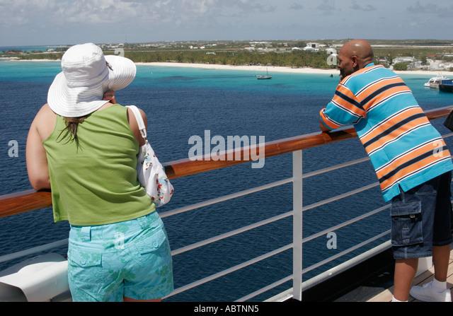Grand Turk Cockburn Town Holland America Line ms Noordam passengers Observation Deck - Stock Image