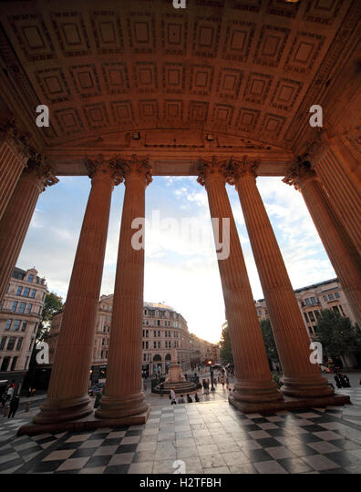 St Pauls Cathedral entrance in wide angle, City of London, England, UK - Stock Image