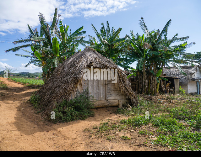 The front entrance of a typical hurricane shelter on a farm near the town of Viñales in western Cuba. - Stock Image