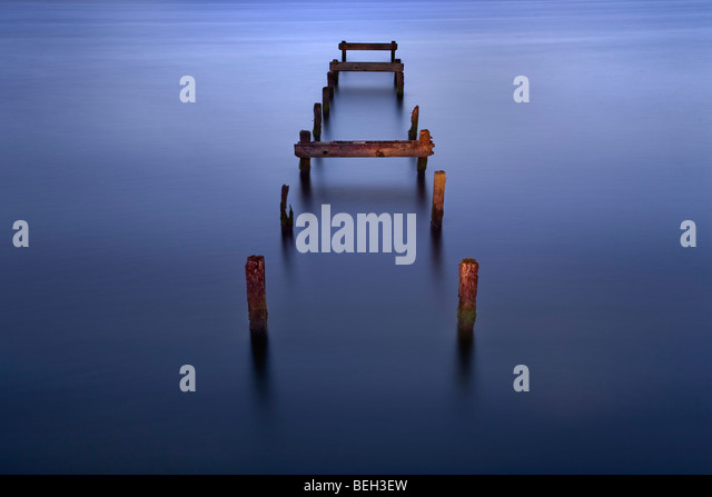 Old jetty at Oxford Island, Northern Ireland. - Stock Image