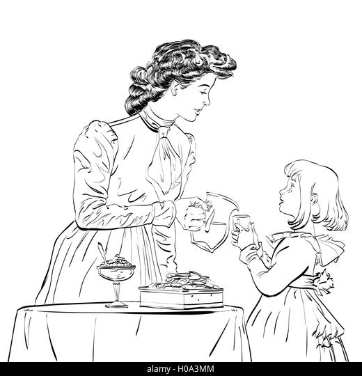Aristocrat mother pouring her daughter a juice - Stock Image