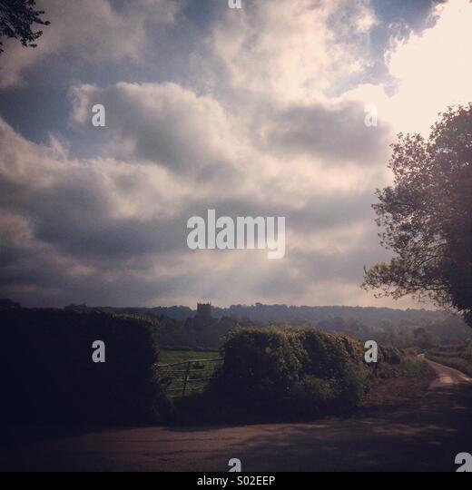 Atmospheric British countryside, Milborne Port, Somerset, England,UK - Stock-Bilder