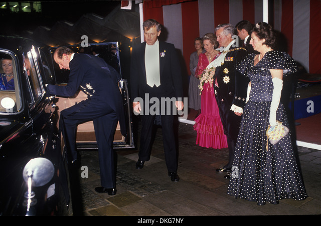 Duke and duchess of Kent leaving the Lord Mayor of London Guildhall reception 1980s London UK  HOMER SYKES - Stock Image