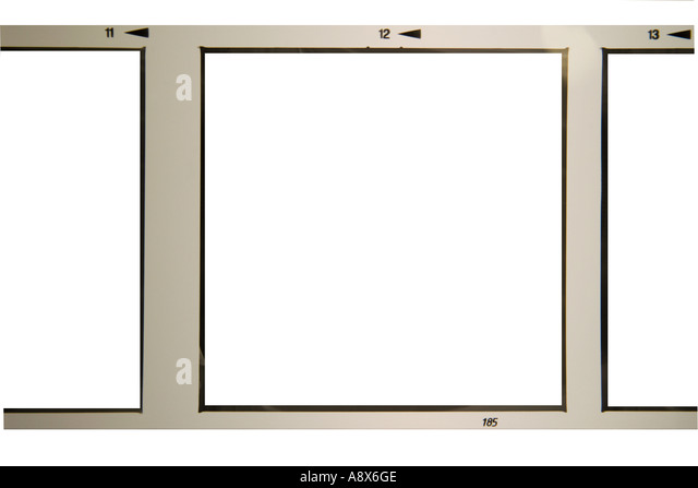 black and white square format processed film strip with removed images on white background frame - Stock-Bilder