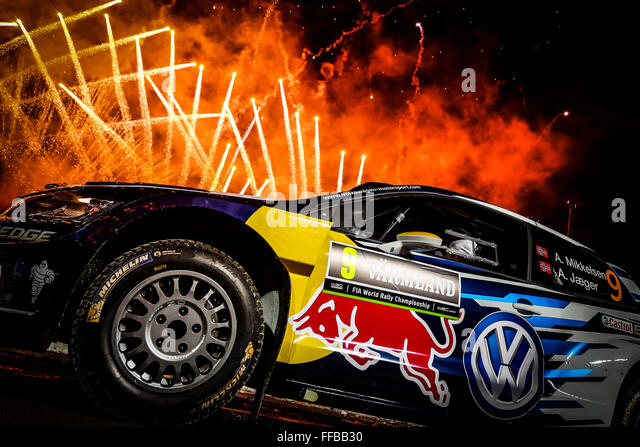 Karlstad, Sweden. 11th Feb, 2016. WRC Rally of Sweden. Prepartion day for drivers and cars in Karlstad. Andreas - Stock-Bilder