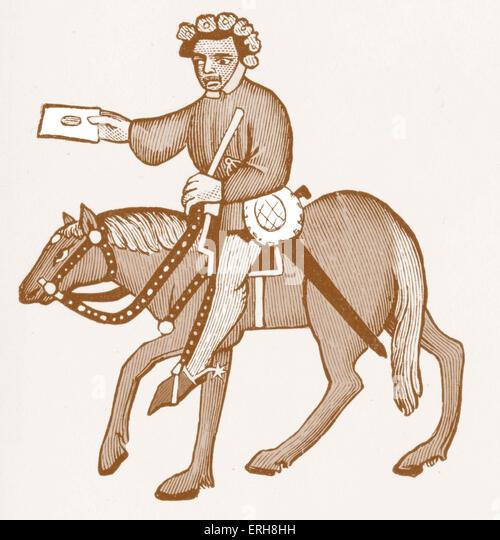 Geoffrey Chaucer ' s Canterbury Tales - The Summoner  on horseback.  English poet, c. 1343-1400. Ellesmere manuscript - Stock Image