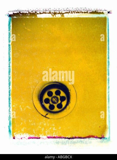 WATER SINK WATER POLLUTION ON POLAROID IMAGE TRANSFER - Stock Image