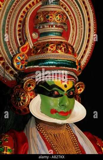 Varkala Kathakali dance performance, India Kerala - Stock Image