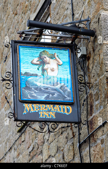 The Mermaid Inn pub sign Hugh Town St Mary's Isles of Scilly UK - Stock Image