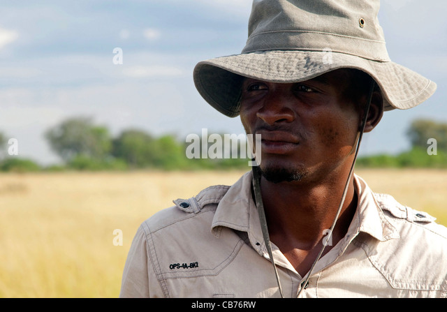 Local African safari guide in the Okavango Delta, Botswana, Africa - Stock Image