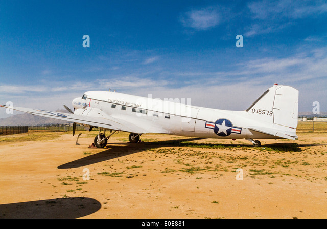 A Douglas DC-3 or C-47 at the March Field Air Museum in Riverside California - Stock Image