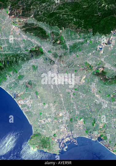 Satellite image of city Los Angeles - Stock Image