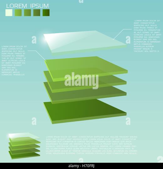 Five 3D square layers in green colors with transparent upper layer. - Stock Image