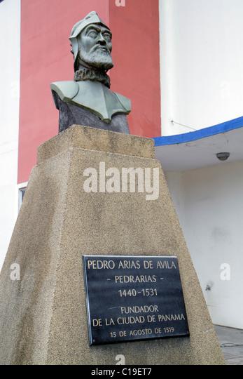Panama Panama City Panama Viejo Ruinas Panama La Vieja ruins historic World Heritage Site visitors center statue - Stock Image