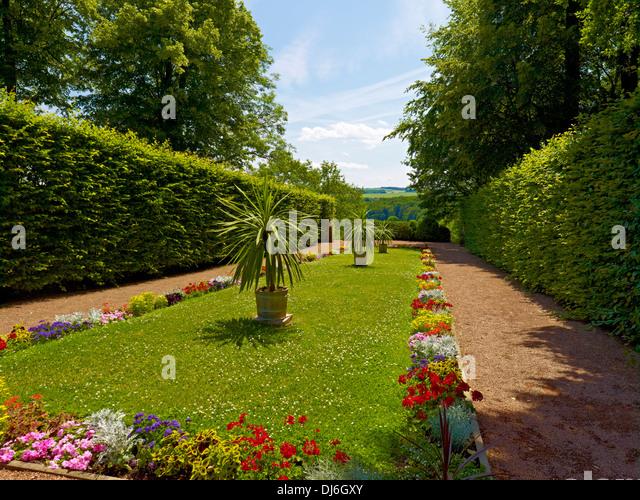Baroque garden, Lichtenwalde Castle, Saxony, Germany - Stock-Bilder
