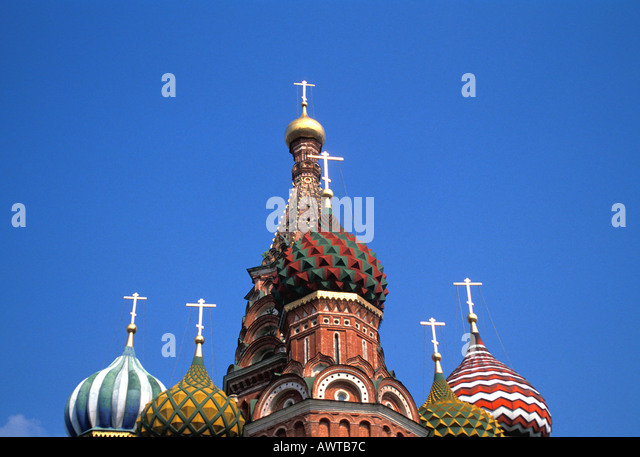 Moscow Russia St Basils Cathedral red onion Domes red square - Stock Image