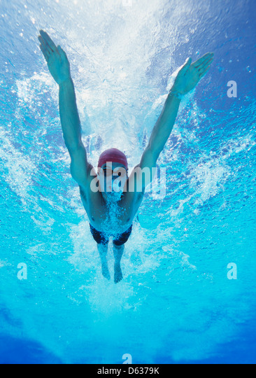 Professional young male thlete swimming in pool - Stock Image