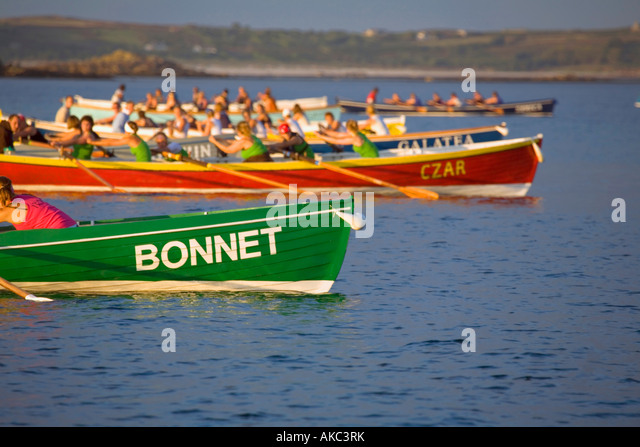 ladies gig race evening isles of scilly september - Stock Image