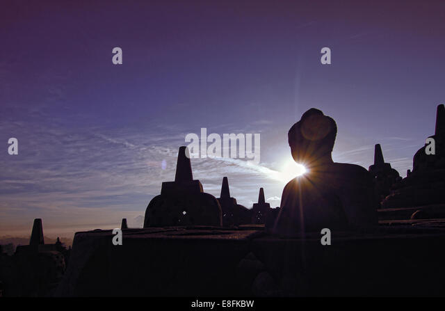 Indonesia, Central Java, Magelang, Silhouette of Borobudur Temple - Stock Image