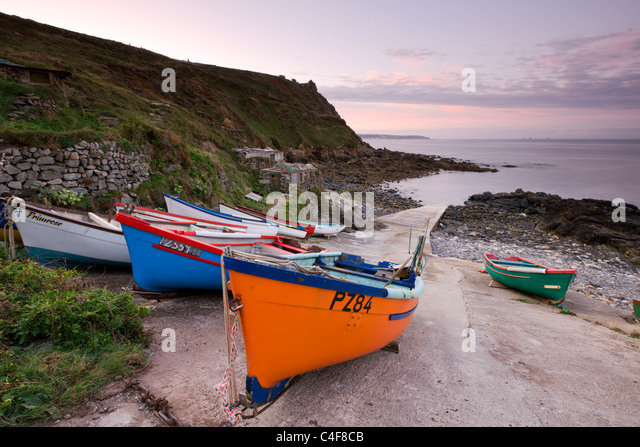 Fishing boats pulled high up the slipway at Priest's Cove, Cape Cornwall near St Just, Cornwall, England. Autumn - Stock Image