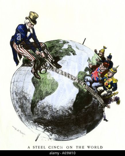 Uncle Sam applying a steel cinch on the globe cartoon symbolizing dominance of American steel industry 1901 - Stock-Bilder