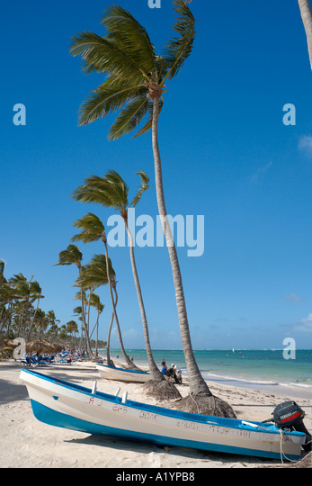 Bavaro Beach at eastern end near Punta Cana, Bavaro, Punta Cana, Dominican Republic - Stock Image