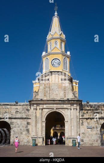 Colombia, Cartagena, Clock tower - Stock Image