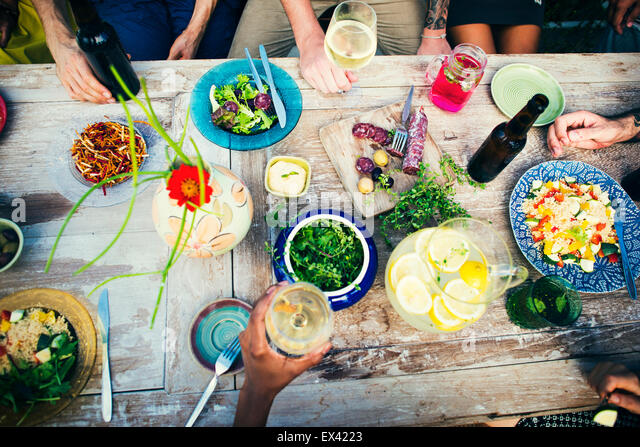 Food Table Healthy Delicious Organic Meal Concept - Stock Image