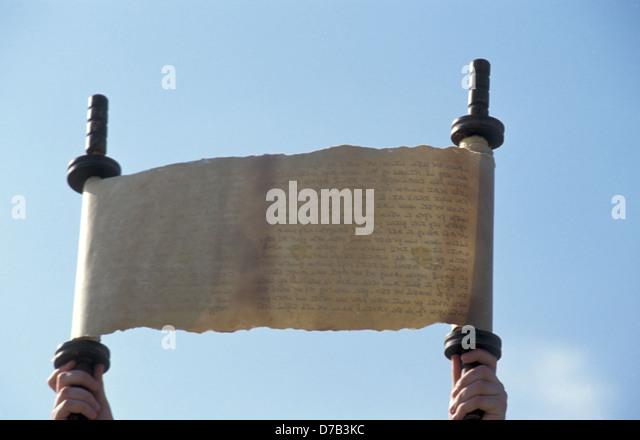 ancient torah jewish scroll - Stock Image