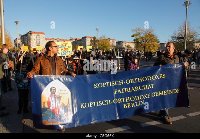 demonstration of the Coptic Orthodox Church of Berlin against murder of Coptic Orthodox Christian in Egypt - Stock-Bilder