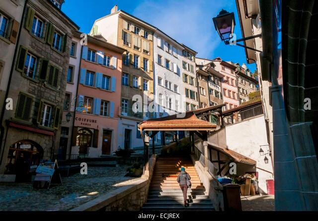 Switzerland, Canton of Vaud, Lausanne, stairs rising to the Market Hill City - Stock Image