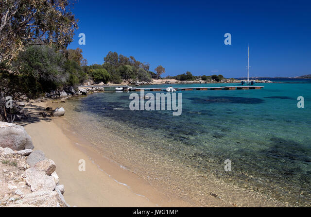 Coastal scenery at Baja Sardinia near Palau on the northeast coast of the Island of Sardinia - Italy - Stock Image