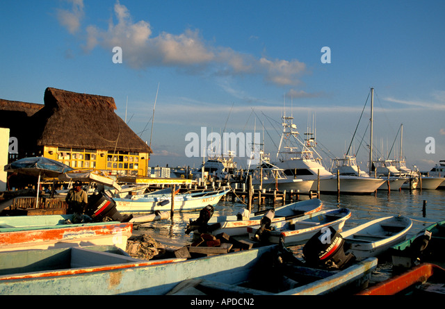 Mexico Isla Mujeres fishing boats at twilight - Stock Image