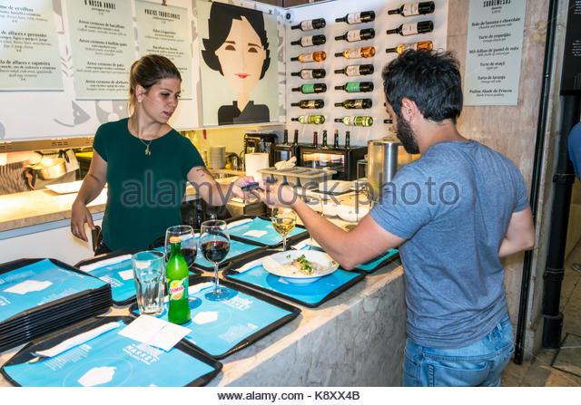 Portugal Lisbon Cais do Sodre Mercado Da Ribeira market hall food court dining Chef Marlene Vieira Portuguese cuisine - Stock Image