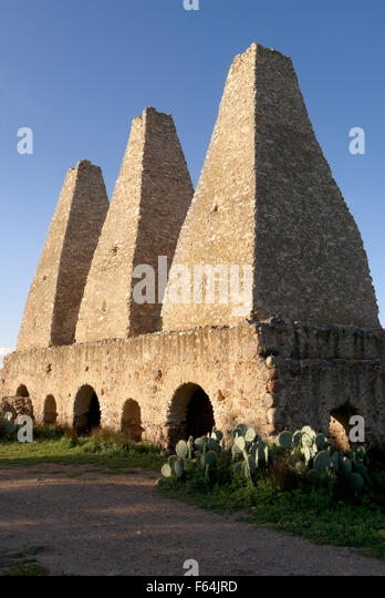 Sixteenth century smelters or hornos at the abandoned Mina Santa Brigida mine, Mineral de Pozos, Guanajuato state, - Stock Image