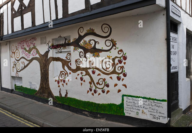 Leominster town centre herefordshire uk stock photos for Apple tree mural