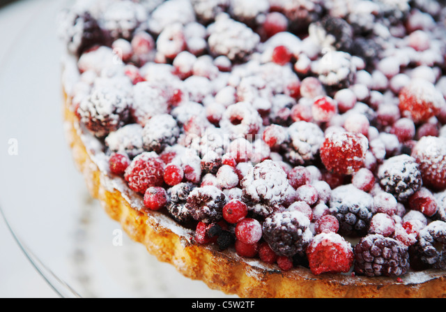 Fruitcake with berries, close-up - Stock Image