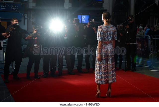 epa05584167 British actress/cast member Gemma Arterton arrives for the premiere of 'Their Finest' during - Stock Image