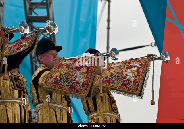 Household Cavalry Trumpeters ' 1 year to go to'  London 2012 Olympics Trafalgar Square - Stock Image