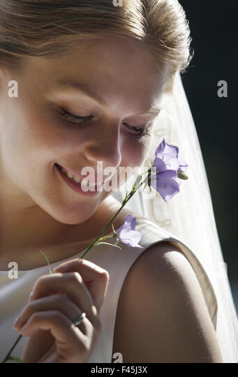 Portrait of the timid bride - Stock Image