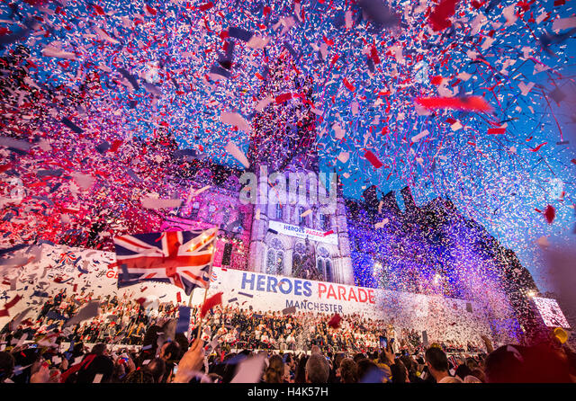 Manchester, UK. 17th October, 2016. Olympic Parade Finale, Manchester © Jill Jennings/Alamy Live News - Stock Image