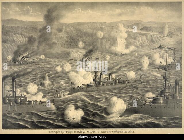 Destruction of Spanish fleet after it left Santiago Bay on July 3, 1898. Faced with capture or destruction when - Stock Image