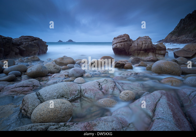 Stormy evening at Porth Nanven in Cornwall, England. Winter (December) 2012. - Stock Image